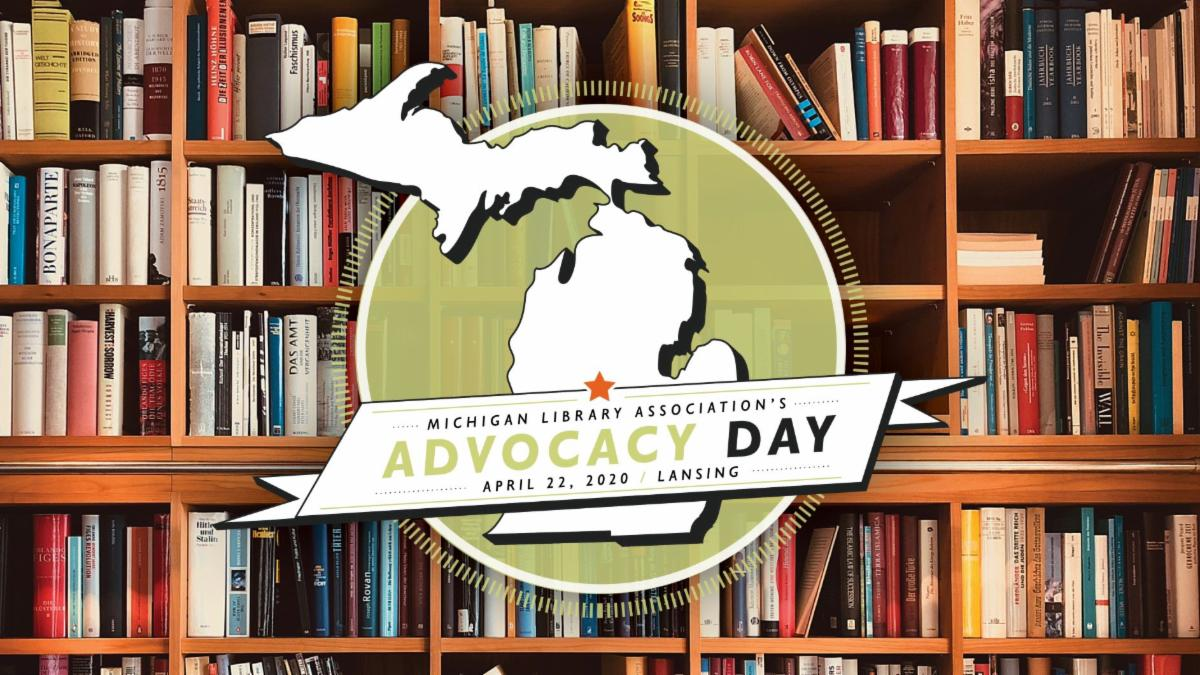 Advocacy Day April 22, 2020 event graphic. Outline of Michigan centered on bookshelf
