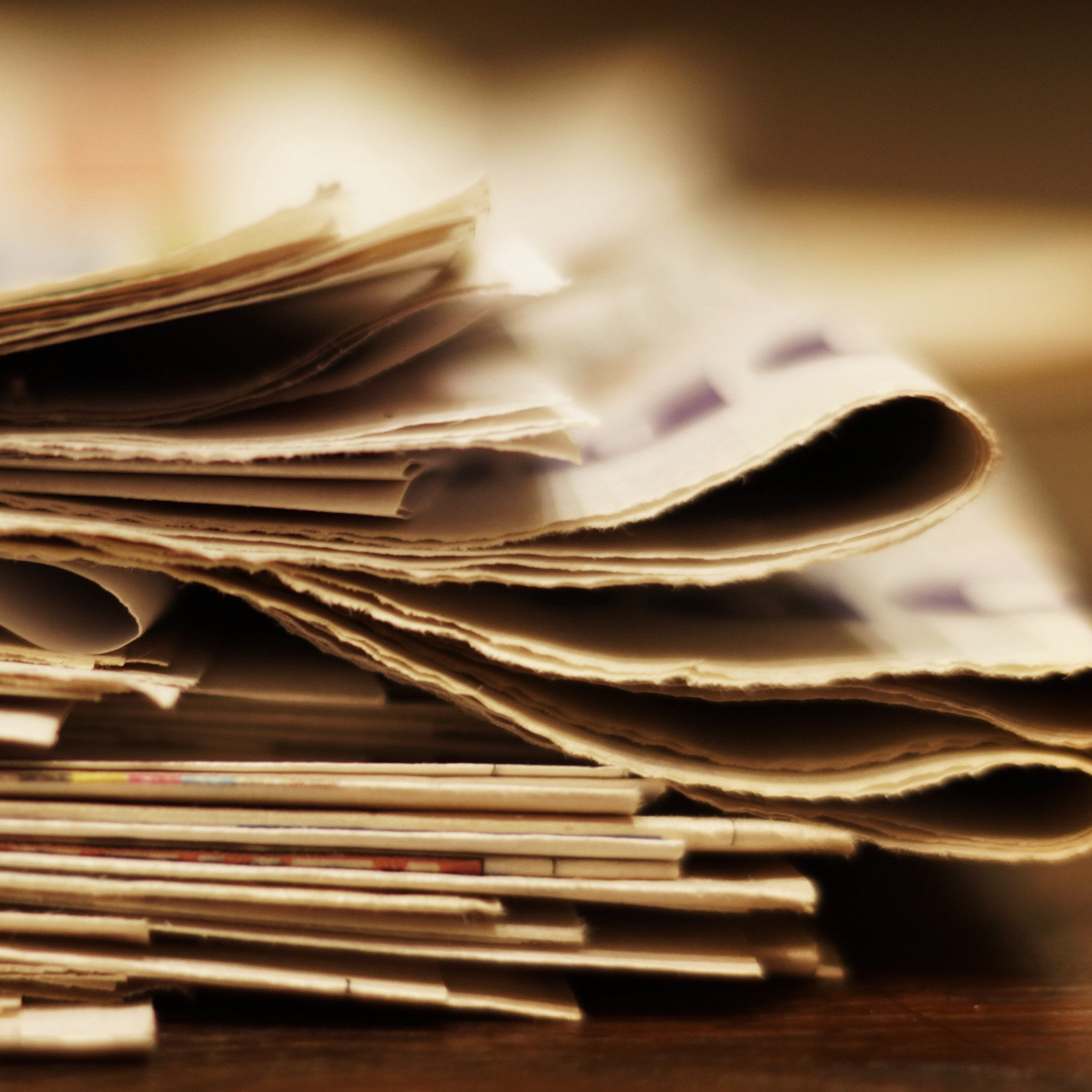 pile of newspapers up close